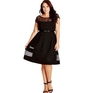 City chic Fit Flare Dress with Lace Insets trims